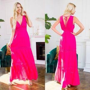 Dresses & Skirts - Deep V Pink Fuschia Maxi Dress with Crochet Detail